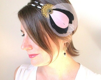Headband/bibi feathers pink and black-tulle rose-retro, years crazy-mind Charleston.