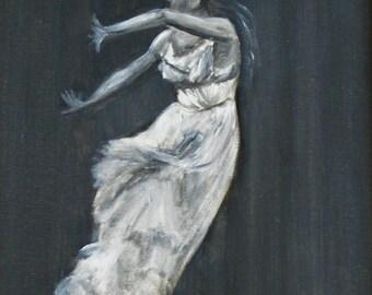Ballet - original oil painting, 30x40 cm, dance, black&white, rain, ballet,  art, drawing, illustration