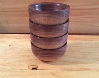Set of 4 Walnut turned bowls