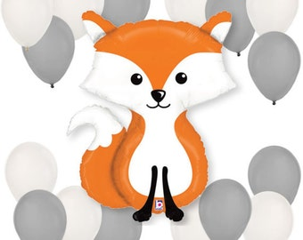 Woodland Fox Critter Creature Balloon Bouquet - Balloon Kit for a Baby Shower, Birthday Party, Forest Summer Camp