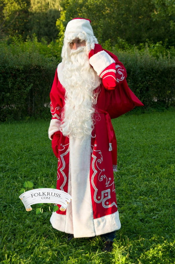 Costume Ded Moroz, Russian Santa Claus, Father Frost Costume, Christmas suit, Father frost wig, beard, bag, belt, gloves, coat, hat