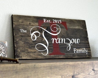 Custom Painted Family Name Sign on Small Stained Wood Pallet Rustic Home Decor