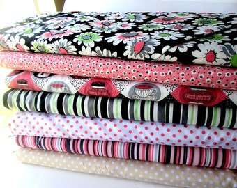 Michael Miller Stripes and Dots/Windham Tea for Two Fabric Bundle, Options include fat quarters, half yard, and yard bundles
