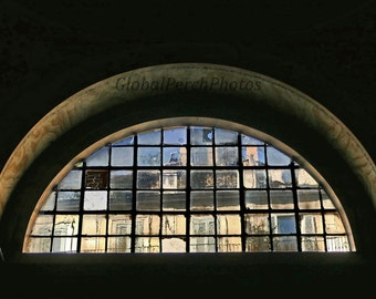 Leaded  Glass Window. Photograph. Rome. Cathedral Window. Arched Window. Ancient.