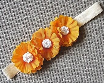 3 Yellow Flowers Headband
