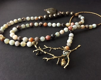 Amazonite necklace, pyrite and bronze