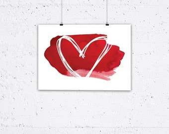 Typography Poster, Instant Download, Heart, Love, Print