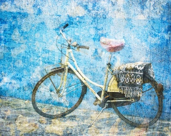 Distressed Bike Photo, Burano Italy, Bicycle Photo, Blue Wall, Textured Photograph, Venice Travel, Dreamy Look, Wall Decor, Italy Print