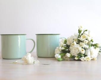 Vintage Enamel Mugs, Vintage NEW Mint Green Mug, Camping Mug, Mint Green Decor, Valentine's Couples Gift, Birthday Gift, Mint To Be