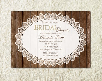Rustic Bridal Shower Invitation, Wood Bridal Shower Invitation, Country Bridal Shower, Vintage Bridal Shower, Country Western Invite