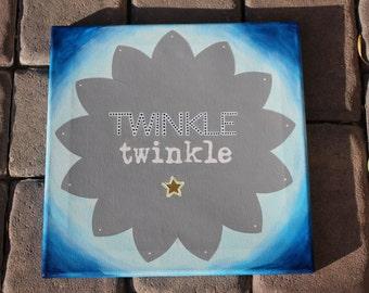 "Child's Nursery Painting, Twinkle Twinkle Little Star, 12""x12"" acrylic canvas"