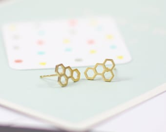 Gold honeycomb earrings, honeycomb earrings, gold earrings, dainty earrings, bridesmaids gifts, gifts for her, teen girl gifts, summer studs
