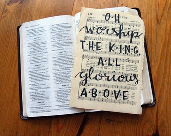 Oh Worship the King All Glorious Above - Vintage Hand Lettered Hymn