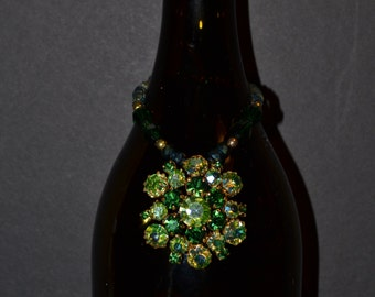 Wine bottle decoration, 2 tone green  (#B79)