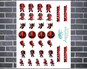 32 DEADPOOL Planner Stickers for Erin Condren Life Planner, Kikki K, Filofax, Kate Spade