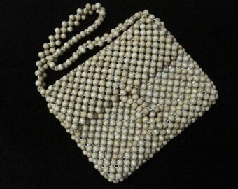 Wood Beaded Handbag, Walborg, Made in Japan, Vintage
