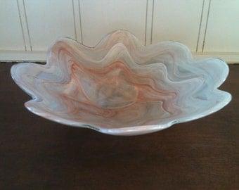 Mid Century Modern hand blown scalloped swirl opaque  art glass bowl centerpiece