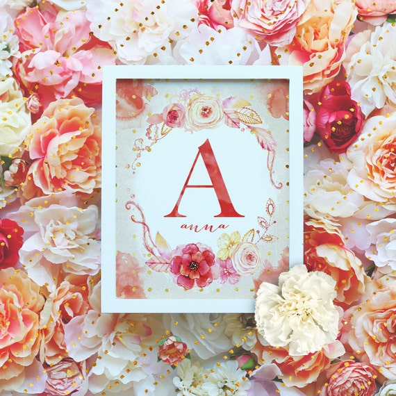 "Custom Monogram Printable - 8x10"" - Customized Name Art Print- Floral Wreath Initial - Floral Monogram - Nursery Monogram- Baby Name Sign"