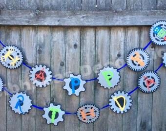 Robots-n-Gears Birthday Banner - Happy Birthday - Multicolored - Robots - Gears