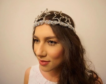 Bridal star crown, Bridal star tiara, Wedding star crown, Wedding star tiara, Bridal crown, Wedding crown, Bridal star headpiece, Wedding