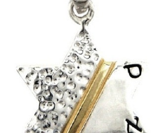 925 sterling silver star of david pendant with gold strip SA'AL judaica kabbalah magen 2 cm charm