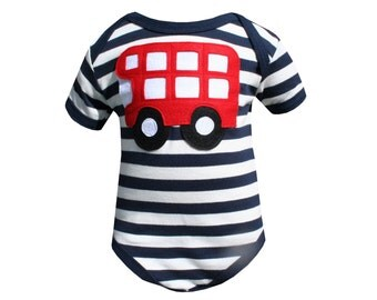 Bus Baby Onesie, New Baby, 0-3, 3-6, 6-12, Girl, Boy, Handmade, Stripe, Bodysuit, London Bus, Motif, Ethical, Top, Baby Gift, Baby Present