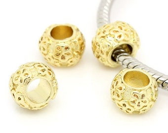 2 Wonderful Handcrafted Bracelet Charms Pandora Compatible Gold Plated