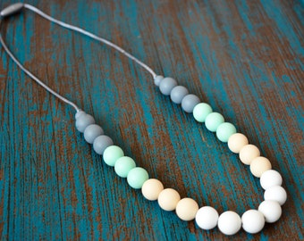 Silicone Teething Necklace, Bite Beads, Nursing Necklace Jewelry, Chewing Beads, Chew Jewelry, Cream and Mint Gradient, Teether Beads