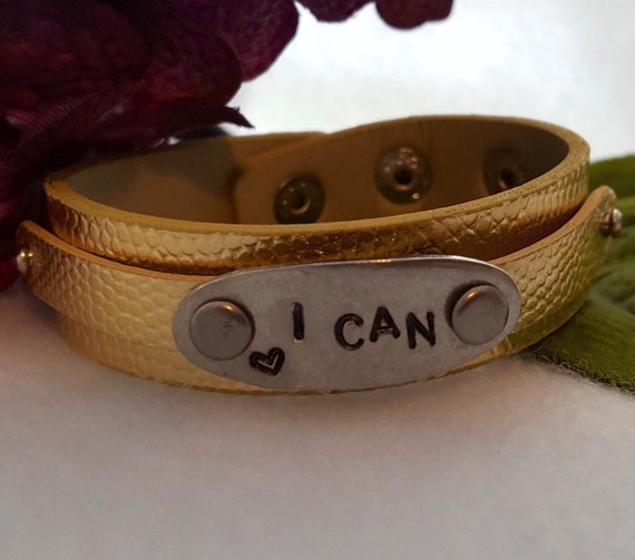 Customized Message Bracelet, Custom Sports Jewelry, I CAN Hand-Stamped Leather Cuff, Personalized Inspirational Motivational Gifts Charms