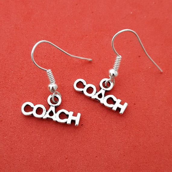 Coach Earrings, Gifts for Coaches, Sports Jewelry, Coach Jewelry, Inspirational Gifts, Coach Charms, Team Gifts, Word Charms, Trainer Gifts