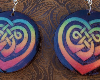 colorful Celtic heart earrings, boho jewelry, unique Celtic jewelry, handcrafted woodburned Irish jewelry