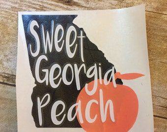 "Sweet Georgia Peach State Car Decal Sticker Vinyl Permanent Tumbler Decal 5""x5"" Ready to Ship Free Shipping Coral Black White"