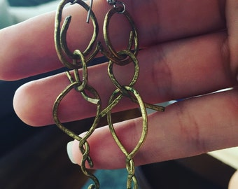 Odd pair- bronze earings unique and irregular boho