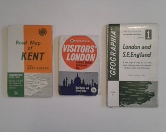Set of Early Sixties' Vintage road maps of London, South East England and Kent