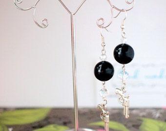 Black metallic earrings with guns Mafia earrings Bang bang