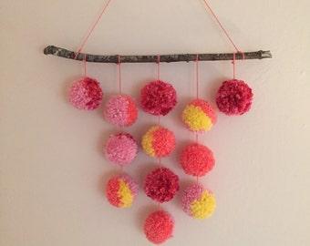 Custom 12 Pom Hanging /Pom Pom Hanging / Wall Art / Boho Decor