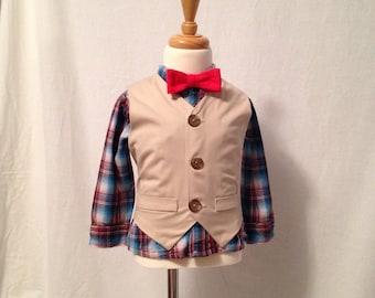 Boys Khaki Vest and Pants Suit, Boys Suit, Ring bearer, Khaki Vest and Shorts, wedding, Suspenders Khaki Suit, Boys formal cloths,Page boy,