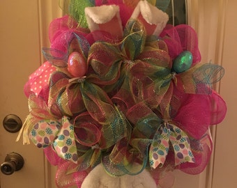 Peter cottontail deco mesh wreath