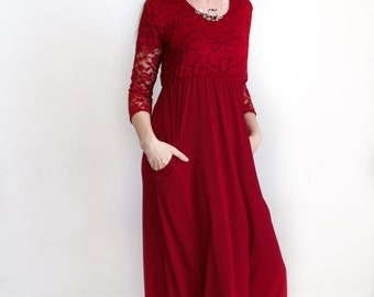 Maxi Dress, Sleeved, Handmade, Burgundy with lace