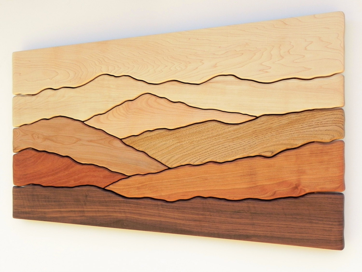 Mountain Scene Wall Art /Sugar Maple, Yellow Birch, Red Birch, Cherry,  Butternut, Mahogany, Black Walnut/
