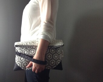 Ady - Folded pouch handbag. Piece unique, ready to be sent. Fold over clutch. Ready to ship.