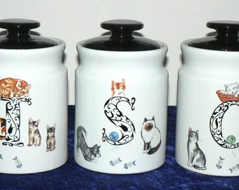 Cat cats canisters Tea, Sugar, Coffee canisters ech with different cats, kitten