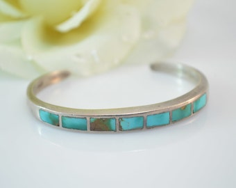 Turquoise Inlay Cuff Bracelet Sterling Silver 20.3g Vintage Estate
