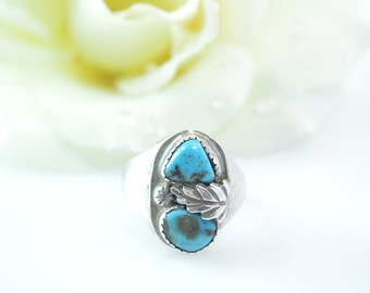Leaf Accented Raw Turquoise Ring Size 11.25 Sterling Silver 10g Vintage Estate