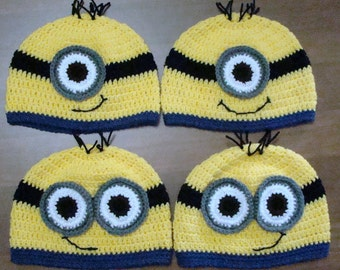 Crochet Minion Hats - Made to Order / For Families / Photo Prop / Gifts / Any Size / Customizable / Baby - Adult / Despicable Me Movie