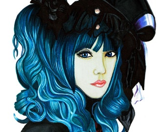 Gothic Lolita Illustration Print