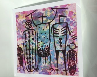 """5.5"""" Square Print """"Lupine Coso Figures"""""""