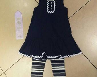 Girl's Drop-waist Dress and Leggings Set