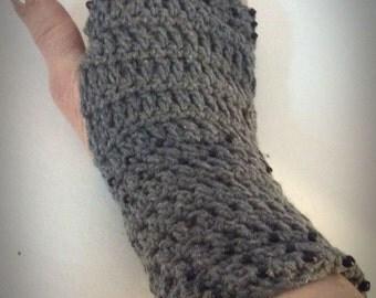 Gray fingerless gloves Beaded fingerless gloves Fingerless gloves Crocheted fingerless gloves