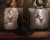 Creepy dark gothic tim burton disney style drink coasters snow white bambi pinocchio dumbo 101 dalmations little mermaid